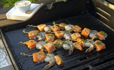 Mini Salmon & Prawn Kebabs  with Capsicum Cream Dressing