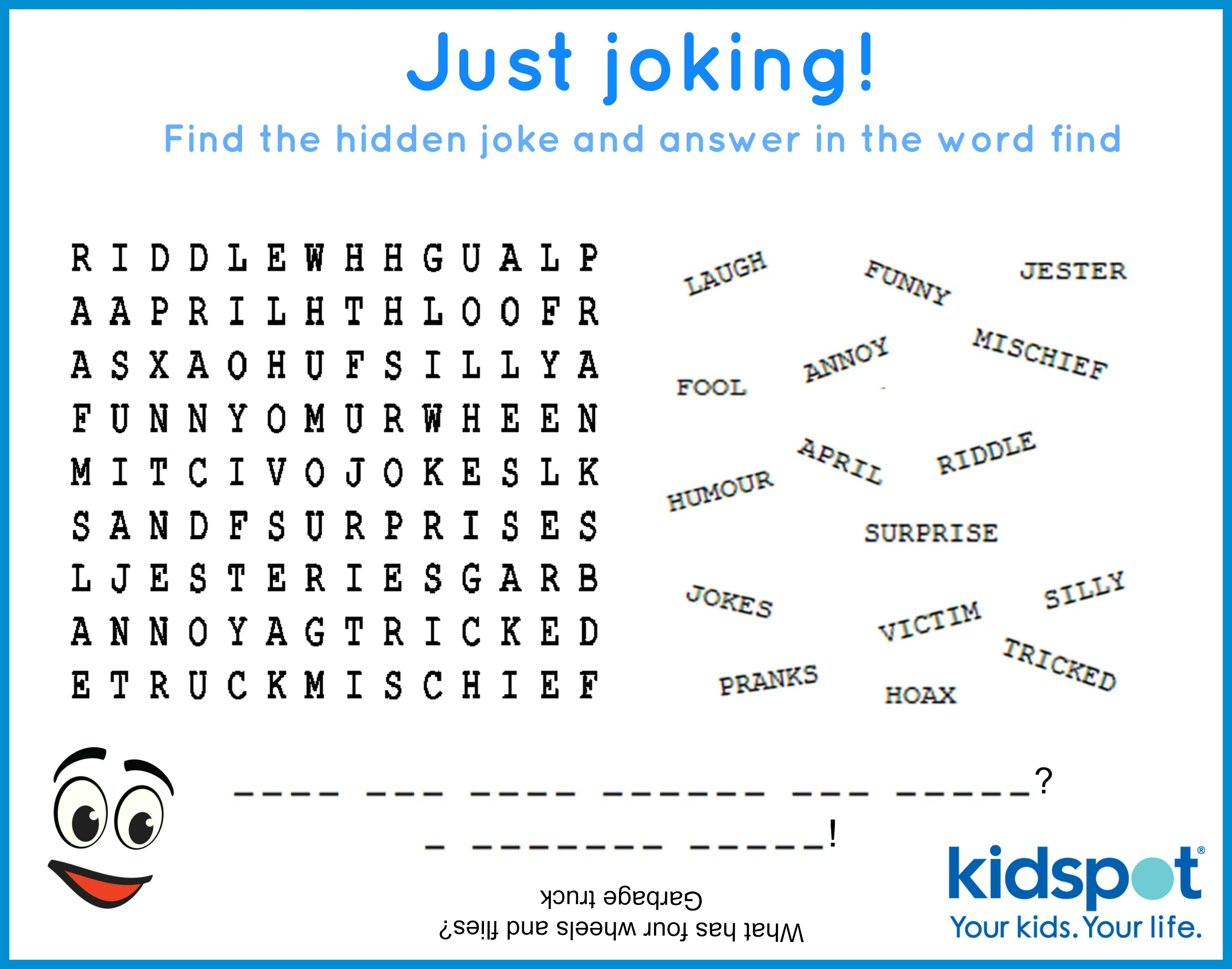 word find free printable april fools day