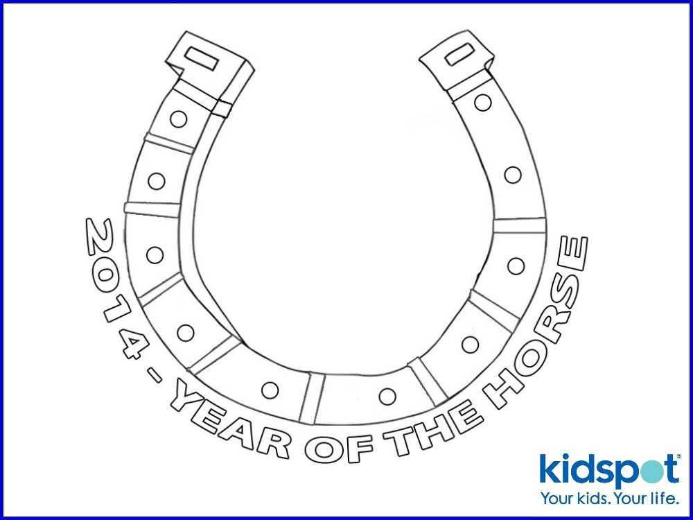 Chinese New Year Colouring Pages Horse Shoe