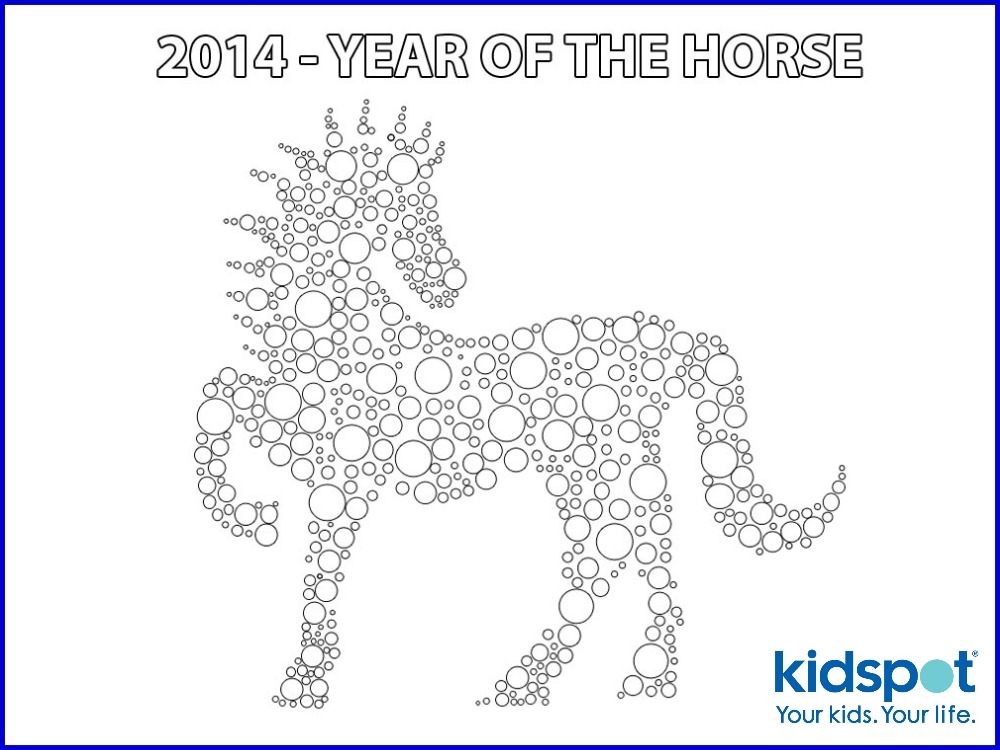 chinese new year colouring pages year of the horse