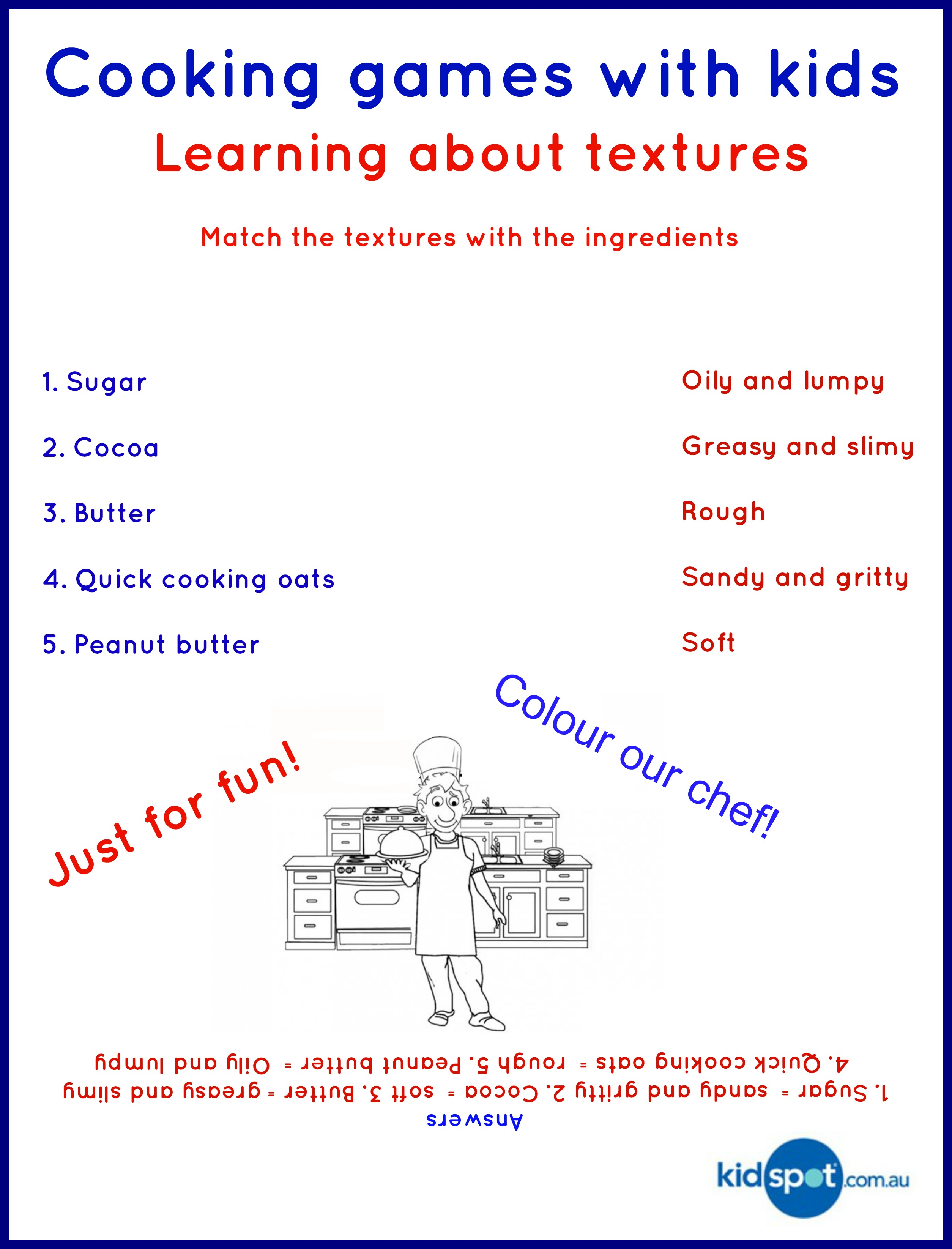 textures cooking for kids cooking games