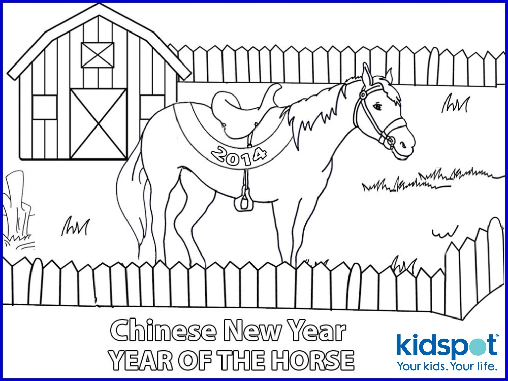Chinese New Year Colouring Pages Horse And Barn