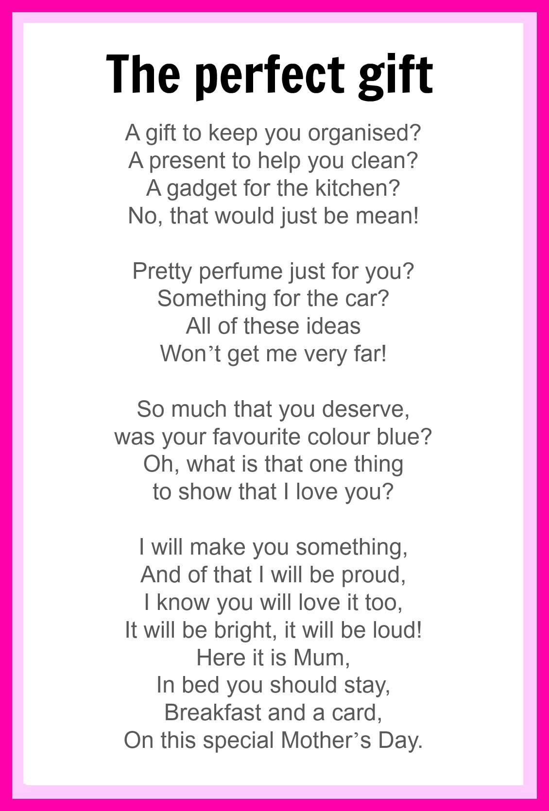 mothers day poems mothers day homemade