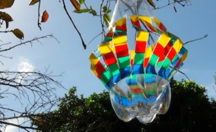 Make a rainbow wind spinner