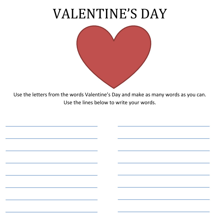 Word Maker Free Printable Valentines Day