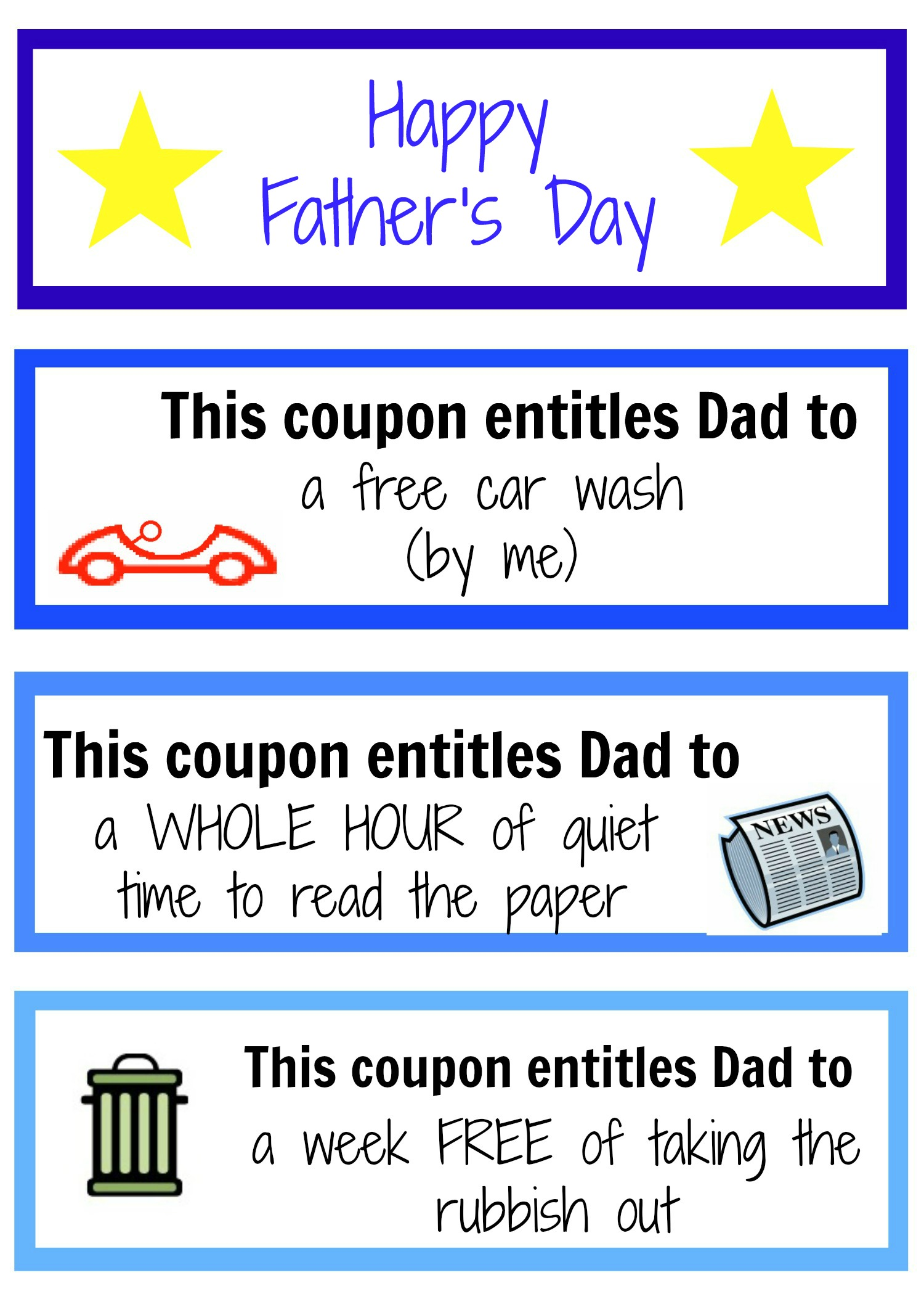 printable fathers day coupons father s day coupon booklet