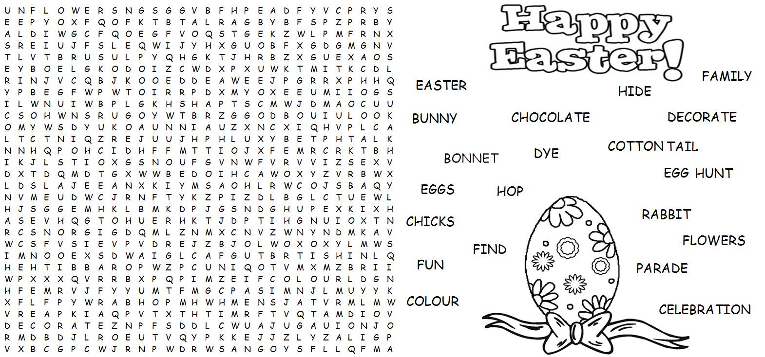 Easter Word Find Hard