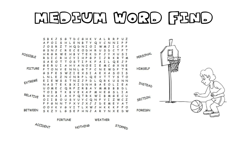 Spelling Words Word Find Colouring Page