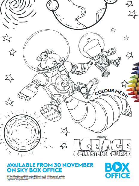 Ice Age Collision Course colouring page