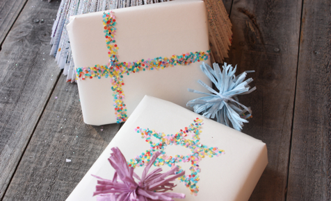 Confetti ribbon gift wrap