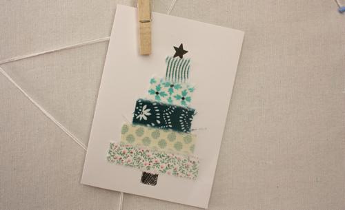 Fabric Christmas tree card