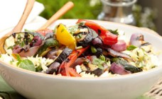 Grilled marinated summer vegetables with rissoni and feta cheese