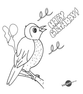 Bird with Happy Birthday sign