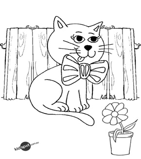 Pretty Kitty Colouring Page