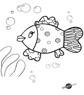 Swimming Fish Colouring Page