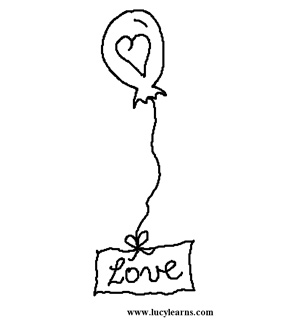 Love Balloon Colouring Page