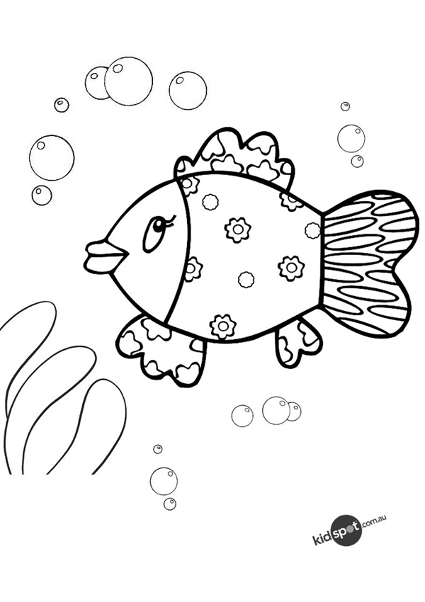 Free Online Swimming Fish Colouring Page