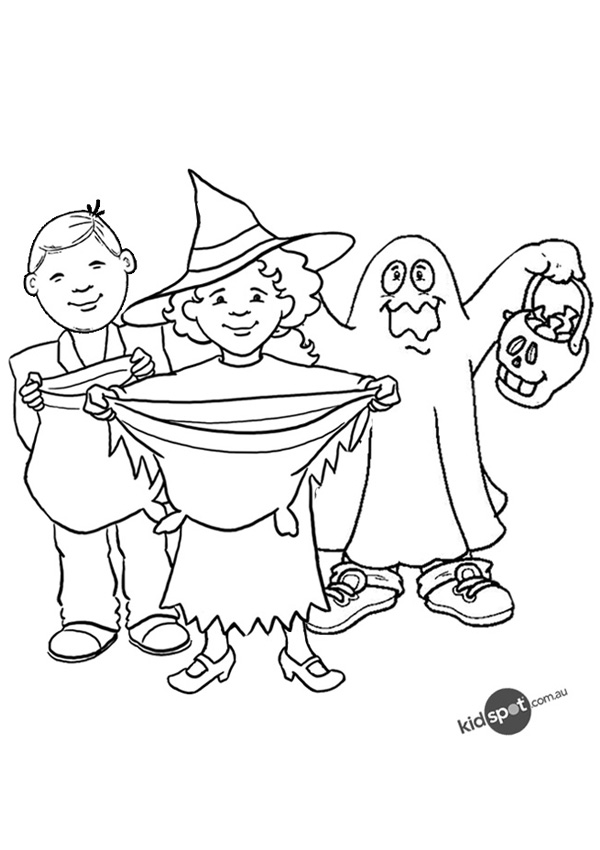 Free Online Trick or Treaters Colouring Page