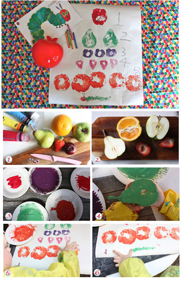 Very hungry caterpiller fruit stamps