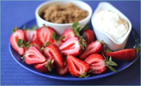 Strawberries dipped in sugar