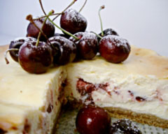 Morello cherry baked cheesecake