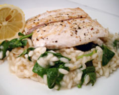 Lemon and spinach risotto with white fish fillets