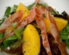 Summery prosciutto and peach salad