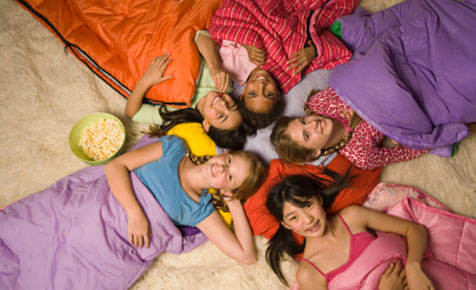 Bedtime at a slumber party