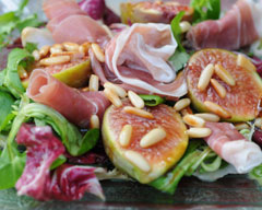 Fig prosciutto and pine nut salad