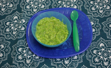 Broccoli, pea and pear puree