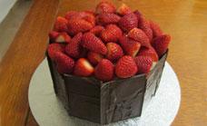 Strawberry surprise birthday cake