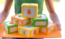 Alphabet blocks birthday cake