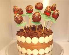 Chocolate-Dipped Strawberry Flower Birthday Cake