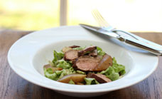 5 spice pork with roast vanilla pear salad