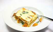Roasted pumpkin, garlic and ricotta lasagne