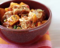 Slow-cooked pork and sweet potato stew