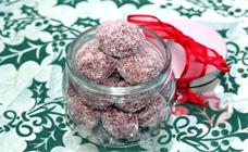 Peppermint cherry christmas balls