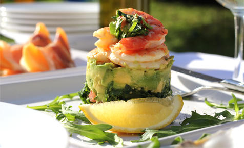 Prawn and avocado stacks