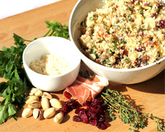 Cranberry, prosciutto and pistachio stuffing