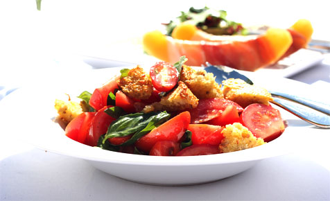 Tomato, basil and bread salad