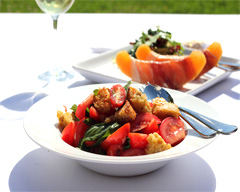 Tomato salad with olives and basil