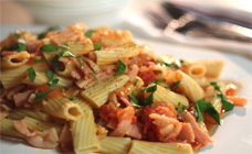 Bacon and chilli rigatoni