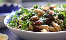 Italian sausage and rocket penne