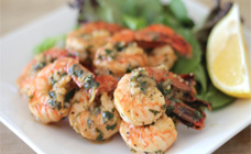Lemon garlic prawns