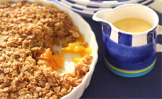 Peach, mango and coconut crumble
