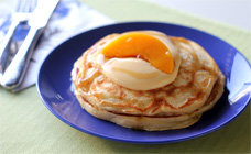 Peaches and custard pancakes