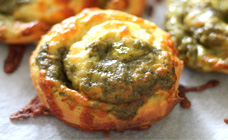 Pesto and cheese scrolls