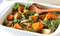 Roasted vegetable and rocket salad