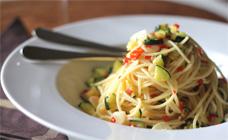 Zucchini and chilli spaghetti