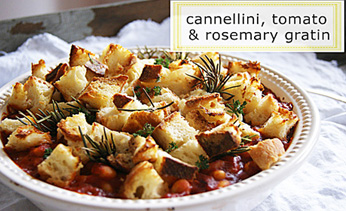 Cannellini, tomato and rosemary gratin